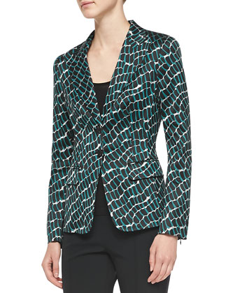 Two-Button Croc-Print Blazer