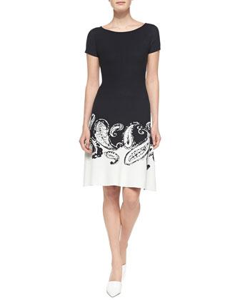 Short-Sleeve Paisley-Border Dress