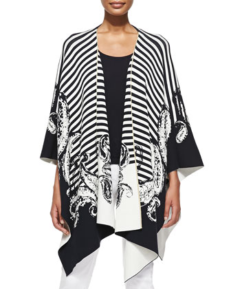 Draped Striped & Paisley-Print Cardigan
