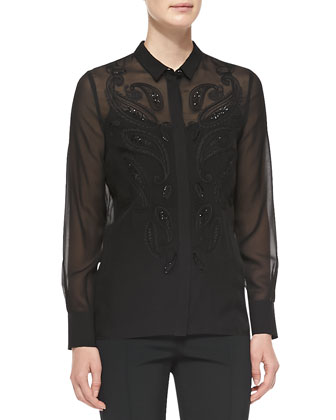 Long-Sleeve Sheer Paisley-Front Blouse