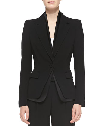 One-Button Blazer w/ Two-Layer Placket
