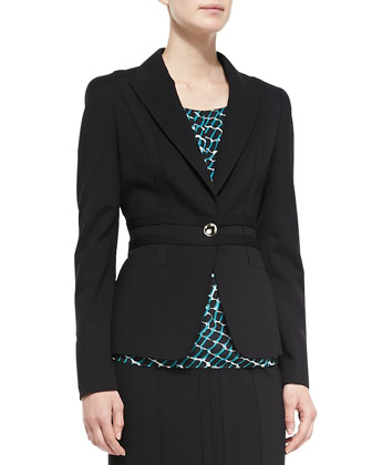 Seamed Ponte One-Button Blazer/Cap-Sleeve Printed Chiffon Top & Seamed ...