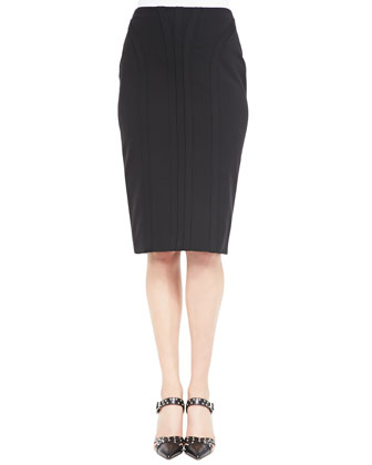 Seamed Overlay Midi Skirt
