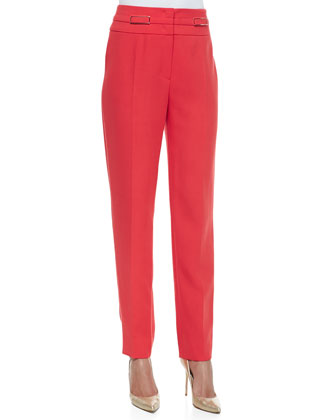 Straight-Leg Trousers W/ Buckle Accents