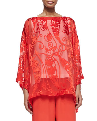 3/4-Sleeve Paisley Tunic, Sleeveless A-Line Shell & Pull-On Wide-Leg Trousers