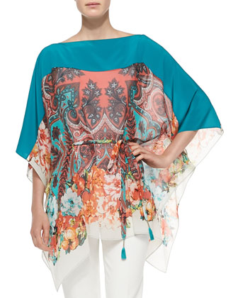 Paisley Poncho Top W/ Self-Tie Belt