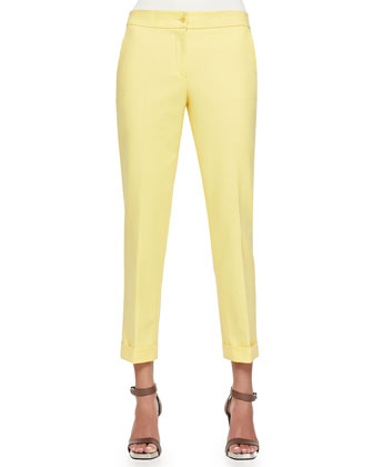 Cuffed Cigarette Capri Pants, Gold