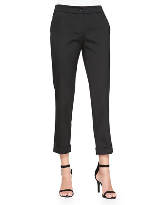 Cuffed Cigarette Capri Pants, Black