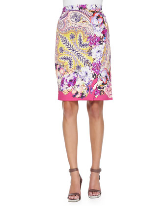 Sleeveless Embroidered Lace Top and Paisley Faux-Wrap Pencil Skirt