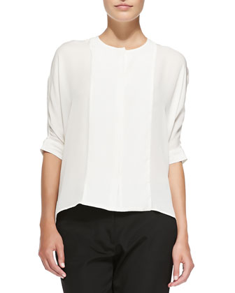 1/2-Sleeve Hidden-Placket Silk Blouse