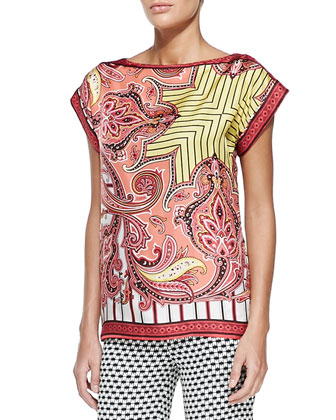 Paisley Striped Foulard T-Shirt, Pink