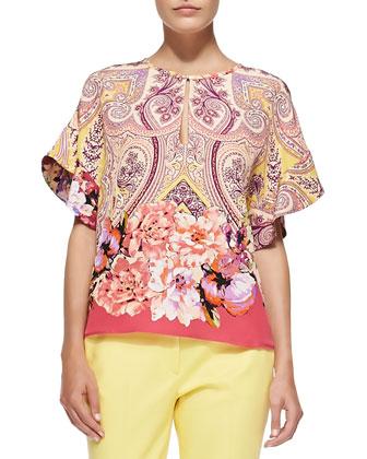 Flutter-Sleeve Paisley/Floral Jacket, Blouse & Cuffed Cigarette Capri Pants