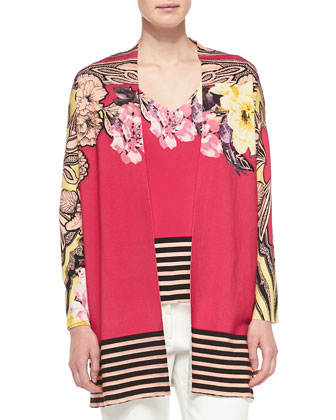 Floral Cardigan W/ Striped Hem