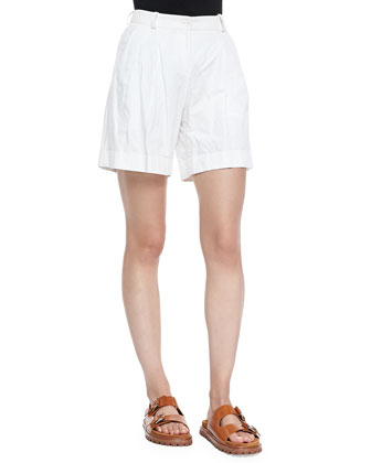 Pleated Trouser Shorts, Optic White