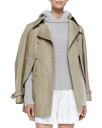 Convertible Cape/Trench Jacket, Shaker-Knit Cashmere Hoodie & Pleated ...