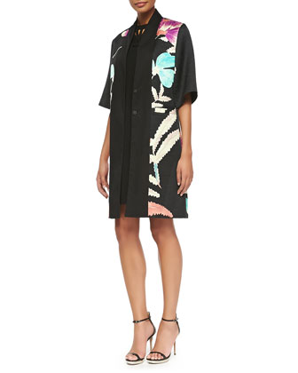 1/2-Sleeve Floral Kimono Topper & Tunic Dress With Laser-Cut Neck
