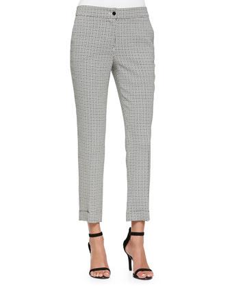 Cuffed Micro Geo-Print Capri Pants