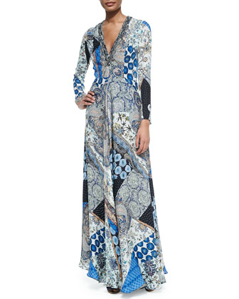 Patchwork-Print Silk V-Neck Gown