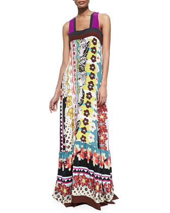 Floral/Zigzag Tiered Silk Patio Dress