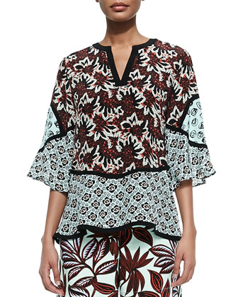 3/4-Sleeve Jagged Floral Silk Boho Tunic