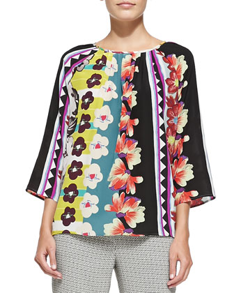3/4-Sleeve Vertical Floral & Striped Blouse