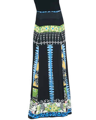Mixed Floral-Print Jersey Maxi Skirt, Black/Blue