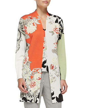 Long Floral Colorblock Cardigan