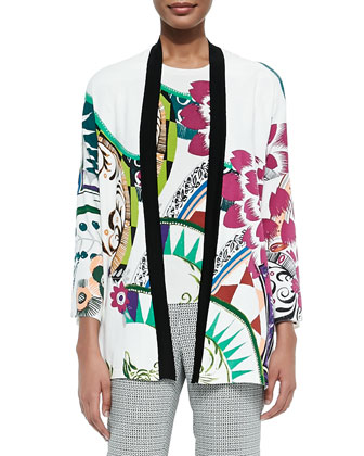 Petal-Print Stretch-Silk Cardigan