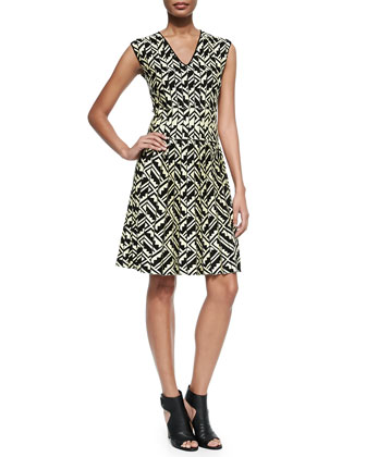 Zigzag Intarsia-Knit Cotton Dress