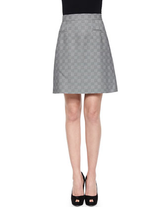 Glen Plaid Jacquard A-Line Skirt