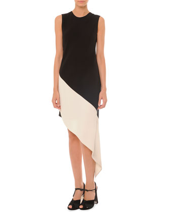 Embellished Bonded Zip Jacket and Sleeveless Asymmetric Colorblock Dress