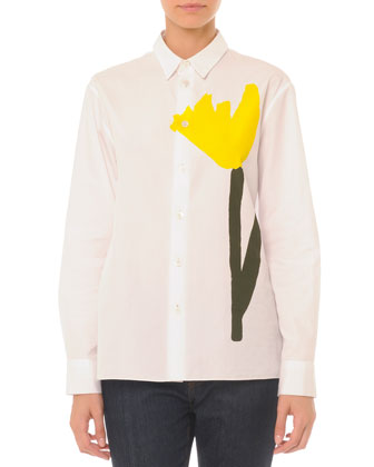 Long-Sleeve Painted Tulip Boyfriend Blouse