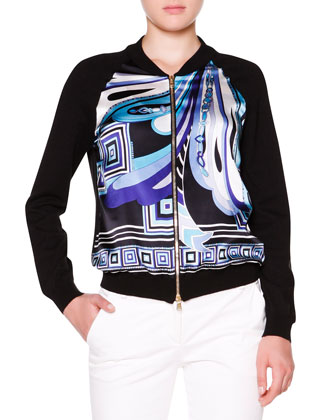 Printed-Front Bomber Jacket W/ Solid Back, Printed-Front Tank with Solid ...