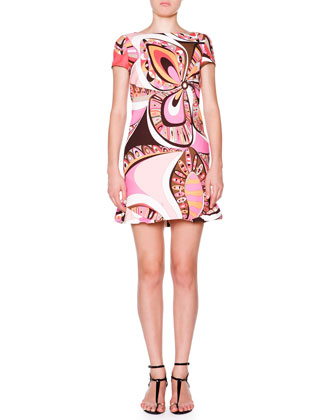 Cap-Sleeve Boat-Neck Printed Shift Dress, Rose