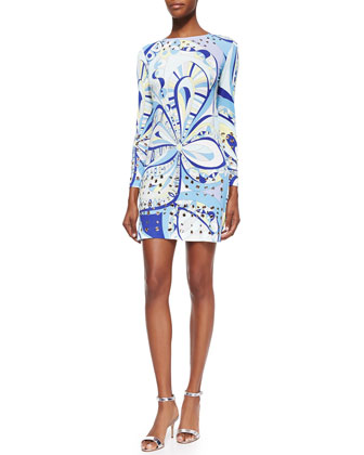 Grommet-Trimmed Paisley-Print Dress