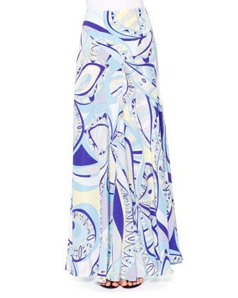 Silk Banded-Collar Blouse & Geometric-Print Maxi Skirt