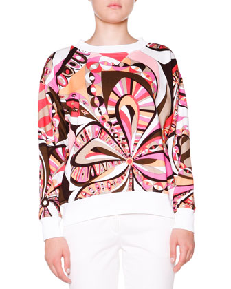 Floral-Print Sweatshirt W/ Ribbed Trim
