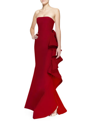 Strapless Bow & Ruffled-Back Gown