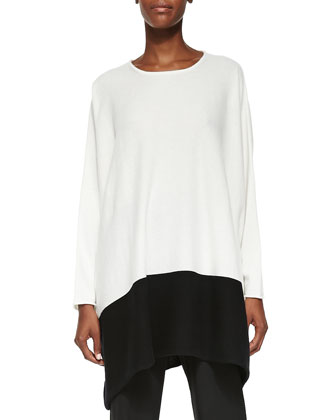 Cashmere Tunic Sweater W/ Colorblock Hem