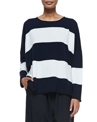 Cashmere Striped Sweater with Double Edges & Japanese Trousers