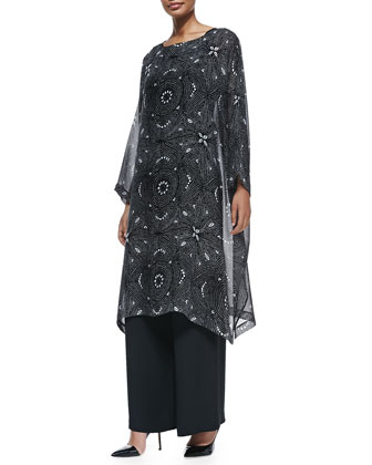 Tribal-Print Boat-Neck Tunic, Flared Trousers & Large Smooth Chrysoprase ...