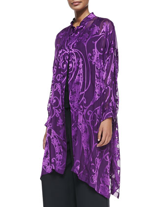 Scroll-Print Shirt with Trapeze Hem