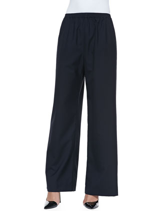 Pull-On Wide-Leg Trousers, Navy