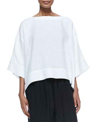 3/4-Sleeve Bateau-Neck Tunic, White