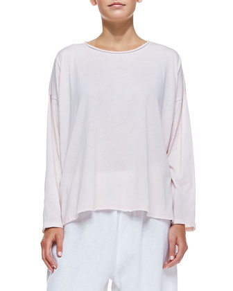 Long-Sleeve Top W/ Double Edges, Pink