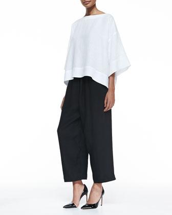 Fine-Knit Japanese Trousers, Black