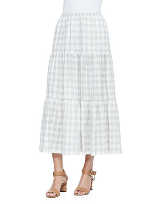 Check-Print Scarf, Sleeveless Side-Pleated Shell & Checked Petticoat Skirt
