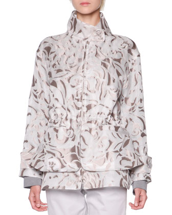 Floral Mesh Jacquard Jacket, Long-Sleeve Textured Tunic & Stretch Twill ...