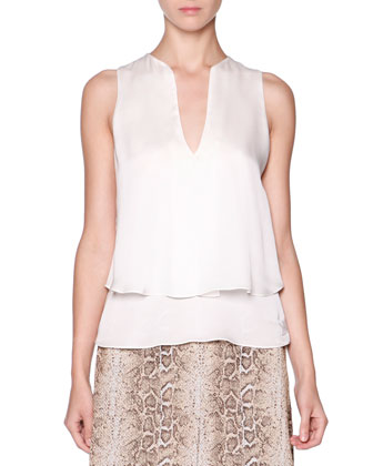 Lambskin One-Button Jacket, Silk Split-Neck Layered Blouse & Snakeskin ...