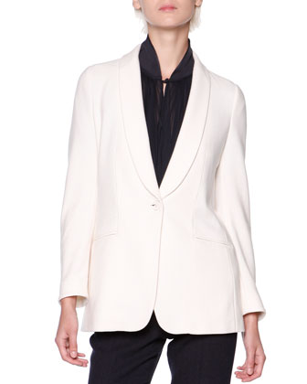 Silk/Cashmere Shawl-Collar Jacket, Knit-Trim Plisse Crepe Blouse & ...
